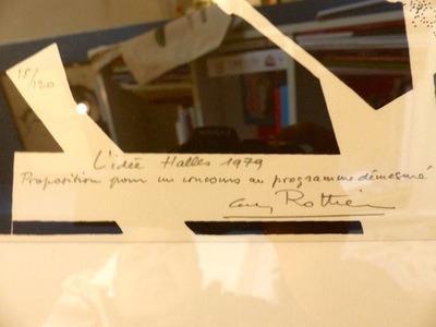 Guy Rottier (1922-2013). Projet pour le concours des Halles à Paris, lithographie 15/120, signée, titrée, datée 1979. 50x50 cm sans les marges blanches du fond, encadrée, 250 euros.