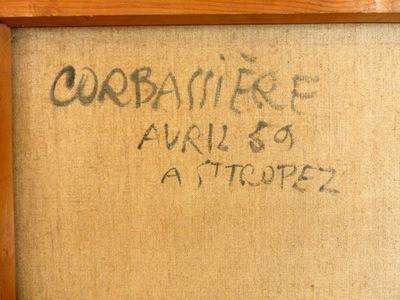 Yves Corbassiére (1925). Abstraction lyrique, huile sur toile, signée au recto, située Saint-Tropez et datée (19)59 au verso. 810x640cm. 600 euros.