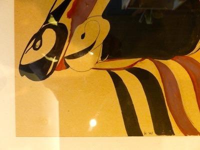 H. de Waroquier (1881-1970), Procession des boeufs, Dessin cubiste, encre et gouache, monogrammé 3 fois, 27x63 cm (hors marge), étiquette descriptive au dos. Dessin de 1925 au catalogue de l?artiste. Encadré sous verre (reflets). 600 euros.