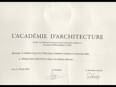 DIPLOME ACADÉMIE D'ARCHITECTURE PARIS 2015