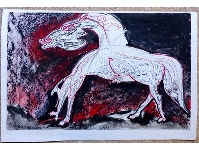Henry de Waroquier (1881-1970), Cheval, dessin expressionniste, encres noire et rouge, 13,5x21 cm, années 1940/50. Non encadré. 100 euros