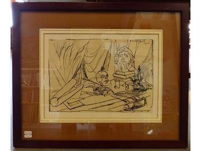 Henry de Waroquier (1881-1970), Vanité, dessin à l?encre, 19x27 cm, signé et daté 1943. Encadré sous verre (Reflets). 200 euros