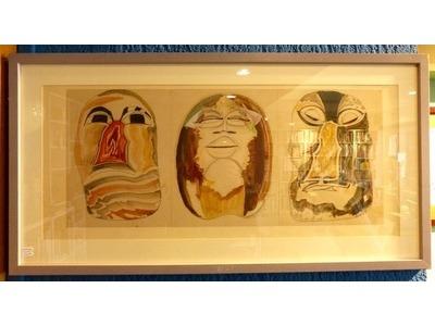 H. de Waroquier (1881-1970), Trois masques, Dessin africaniste, encre et gouache, monogrammé et daté 1947. 27x63 cm (hors marge). Encadré sous verre (reflets). 400 euros.