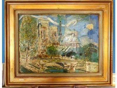 Gilbert Corsia (1915-1985), Notre Dame-Paris, Huile sur carton (bande ajoutée), 55x75 cm, signée, encadrée, vers 1940/1950. 350 euros.