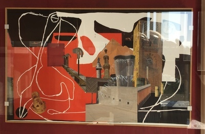 My house is a Le Corbusier (Unitée d'habitation travel #3), 2015, collage on reproduced works by Le Corbusier (inkjet print on Museum paper), 3M spray glue, frame based on Le Corbusier's design, 65,7x41,6x6 cm