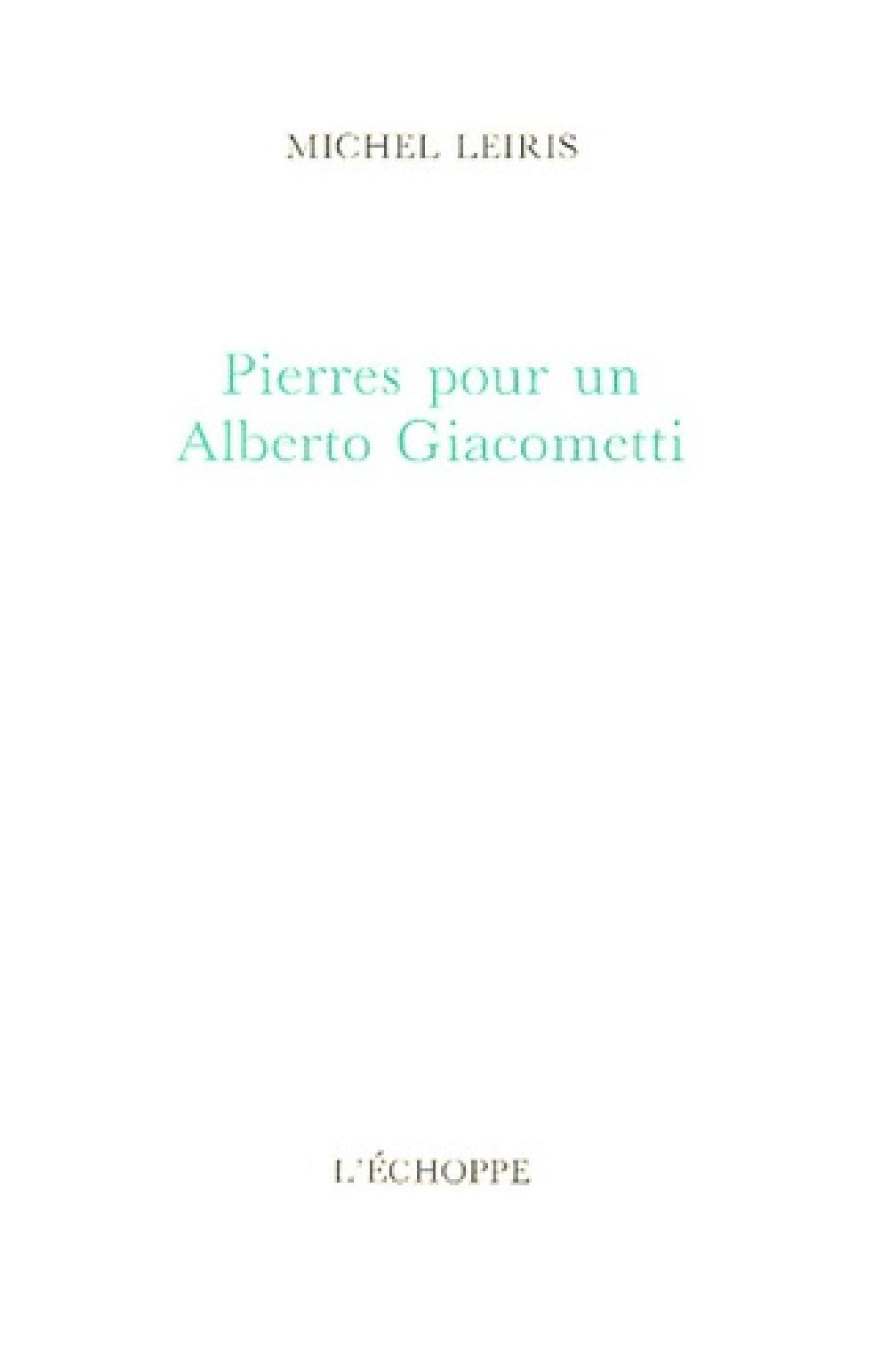 Pierres pour un Alberto Giacometti