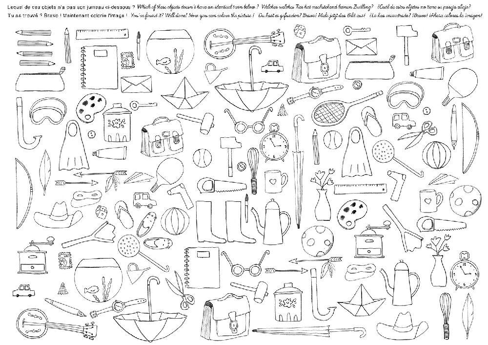 Ensemble de 40 sets de table à colorier Aujourd'hui c'est mercredi