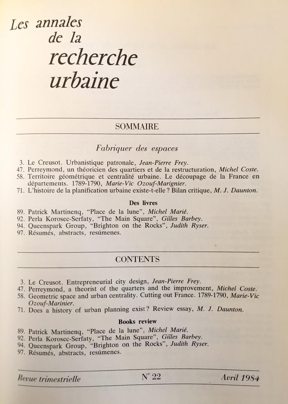 Les Annales de la recherche urbaine - n°22 Fabriquer des espaces