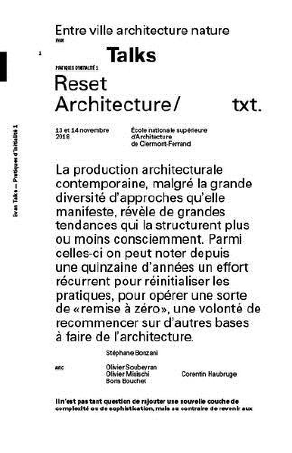 Reset Architecture - Entre ville architecture nature