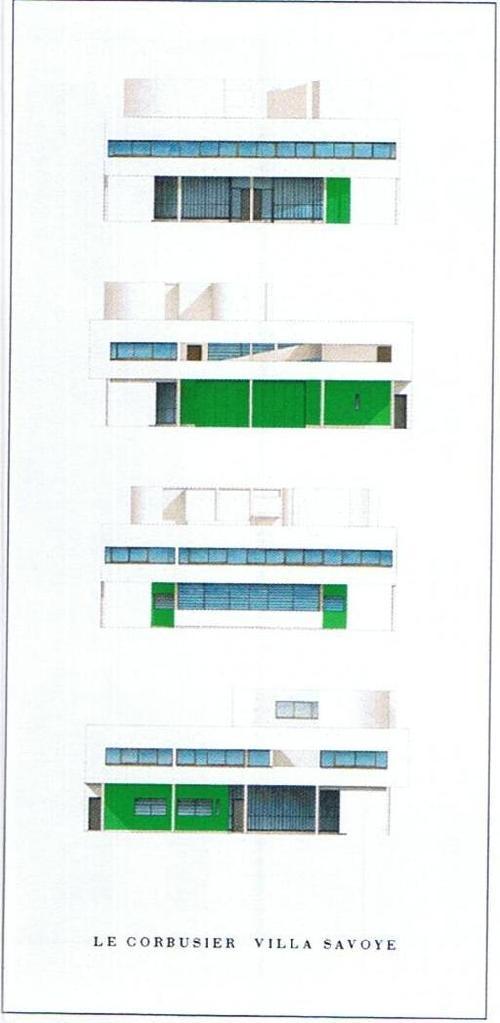 Le Corbusier Villa Savoye Façades Nord-Ouest/ Sud-Ouest (Affiche)