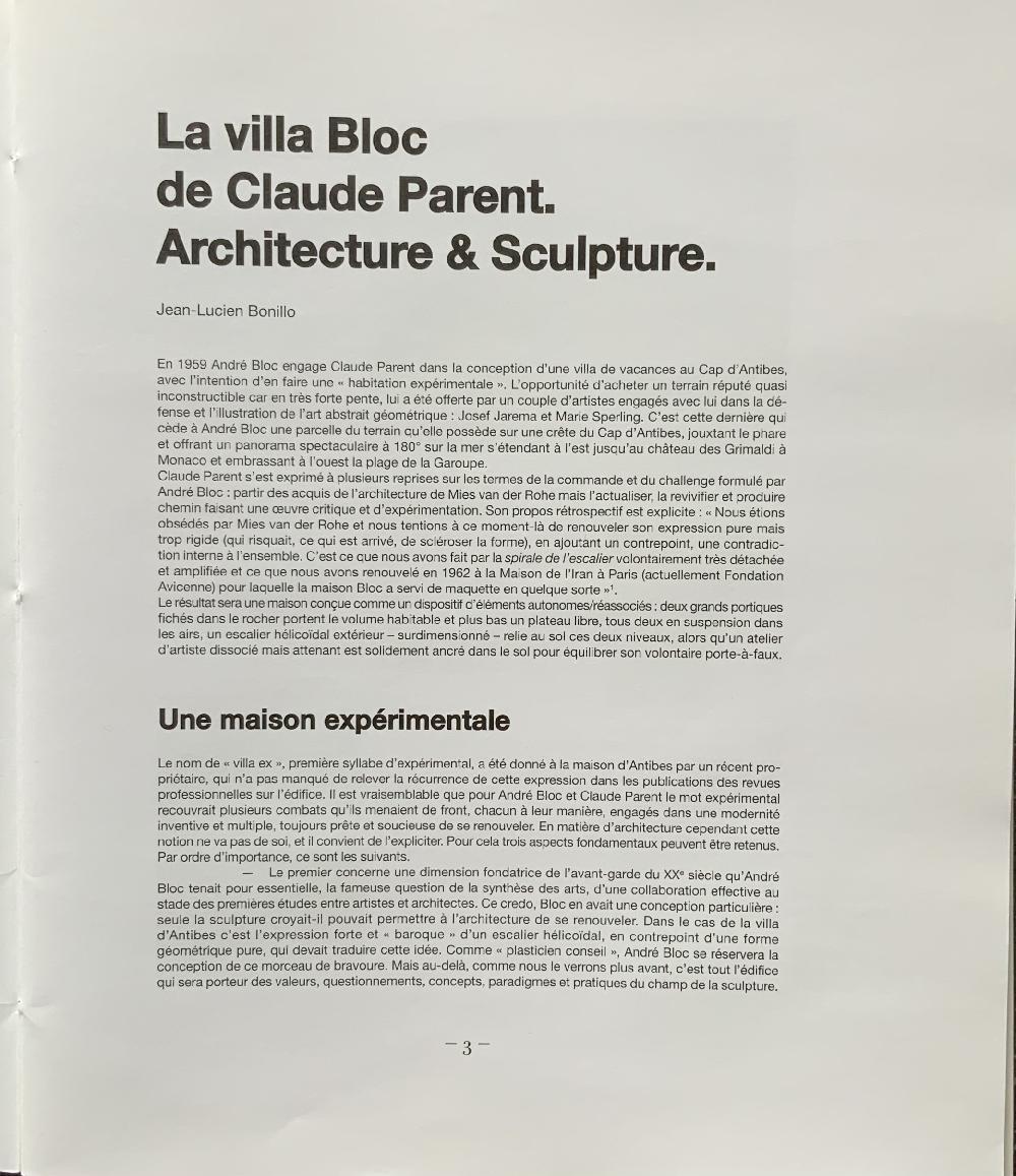 La villa Bloc de Claude Parent. Architecture et sculpture