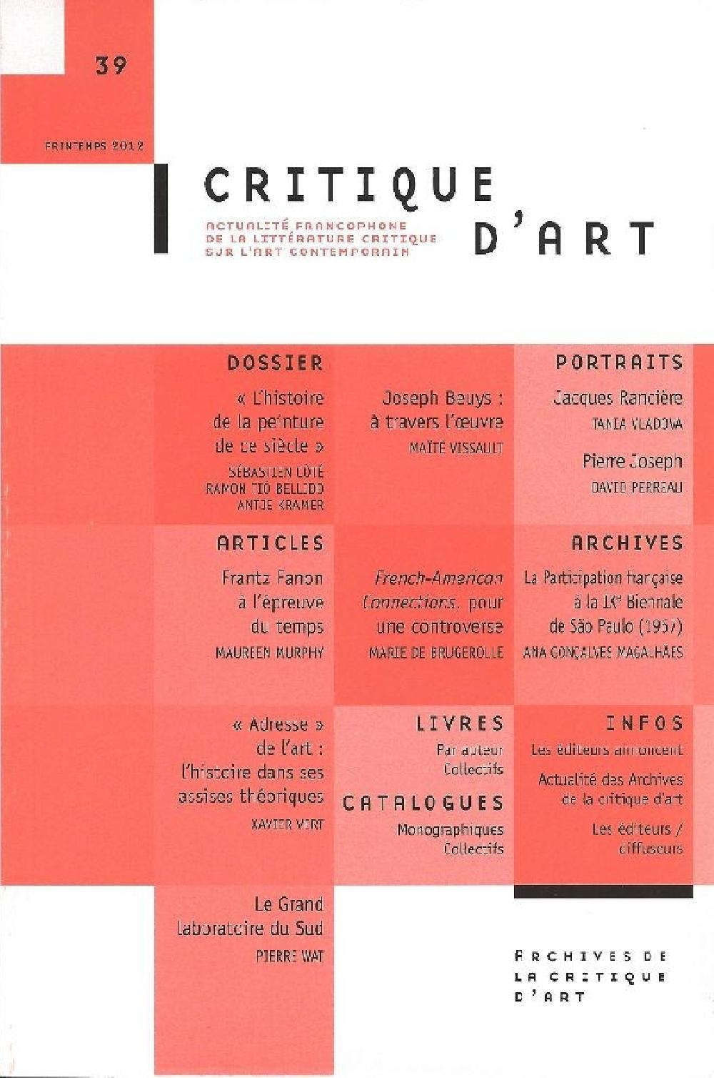 Critique d'art n°39