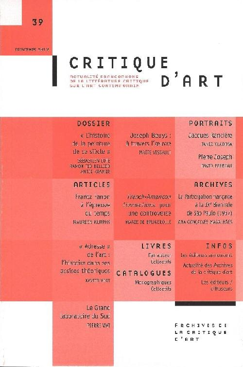 Critique d'art n°39